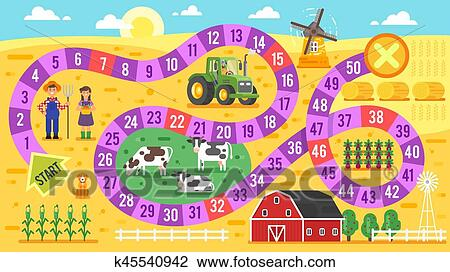 clipart of vector flat style illustration of kids farm board game