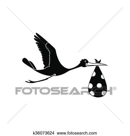 desenhos voando cegonha com um pacote ícone k36073624 busca