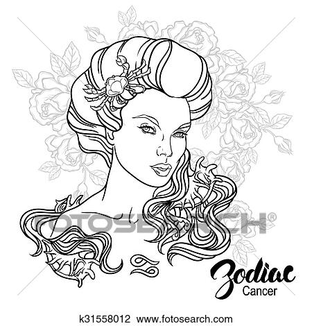 Zodiac Vector Illustration Of Cancer As Girl With Flowers Design