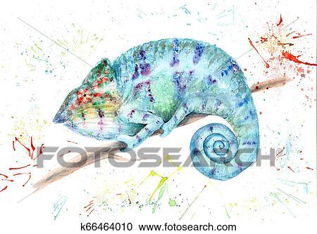 Aquarela Desenho De Animal Colorido Camaleao Com