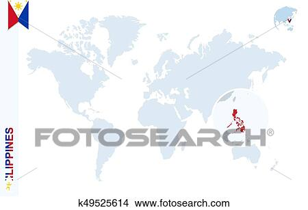 Clipart of Blue world map with magnifying on Philippines. k49525614 ...