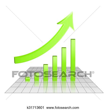 Business 3d Chart Of Growth Goal Achievement Concept Rise Arrow And Bars Green Color Vector Eps 10