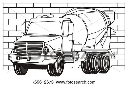 Coloring cement truck Drawing | k69612673 | Fotosearch