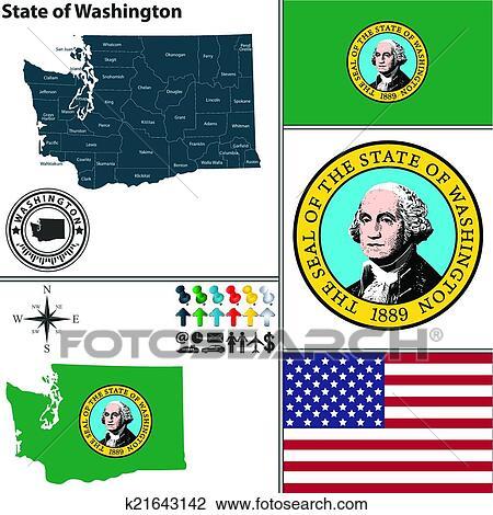 Clipart - mapa, de, estado, washington, estados unidos de américa ...