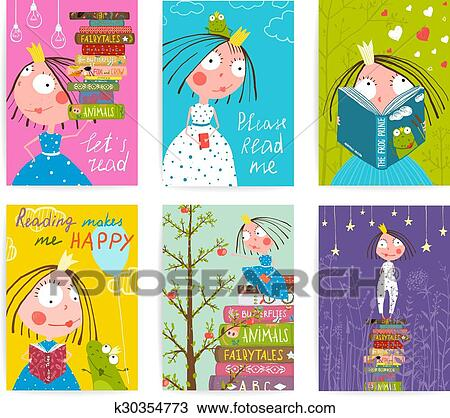 Mignon Petite Princesse Gosses Lecture Conte Fees Livres Bibliotheque Affiche Collection Clipart