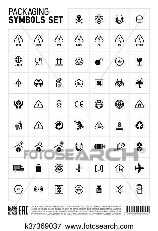 Packaging symbols set icon  Clip Art