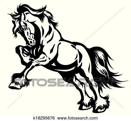 Clip Art Pferd Schwarz Weiß K18295676 Suche Clipart Poster