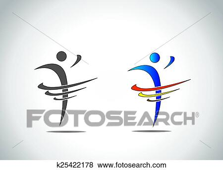 Clip Art Of Abstract Icon Symbol Of A Person Dancing With Joy