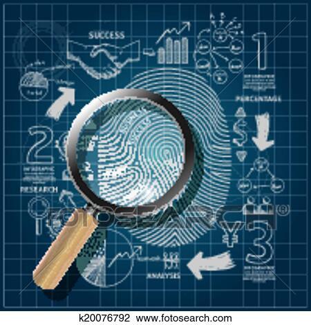 Clipart of business fingerprint doodles line drawing blueprint business fingerprint doodles line drawing blueprint success strategy plan idea with magnifierctor illustrationcus success concept malvernweather Choice Image