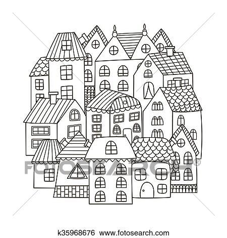 Clip Art - círculo, forma, patrón, con, casas, para, libro colorear ...