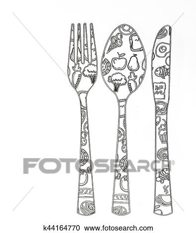 Coloring Pages For Adults Kitchen Clipart K44164770 Fotosearch