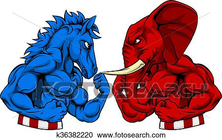 Clipart Of Donkey Vs Elephant Politics American Election Concept
