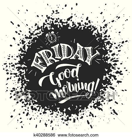 Freitag Guten Morgen Typographie Design Clip Art