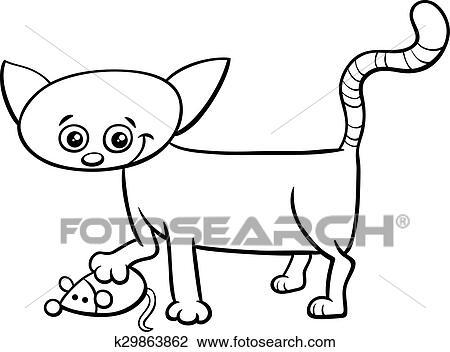 Katzenbaby Spielzeug Maus Färbung Seite Clipart