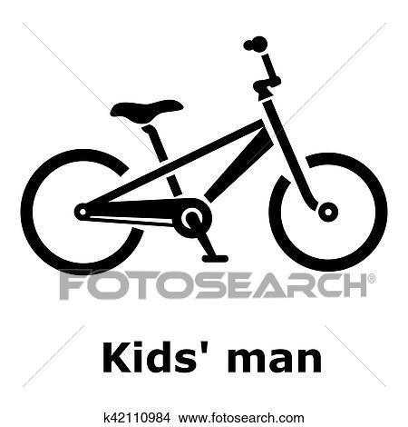 Dibujos - niños, hombre, bicicleta, icono, simple, estilo k42110984 ...