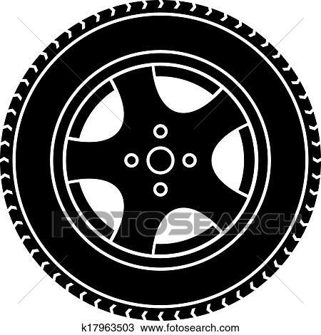Vecteur, roue voiture, noir, blanc, symbole Clipart ...
