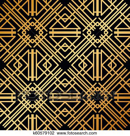 Abstract Vector Seamless Art Deco Pattern