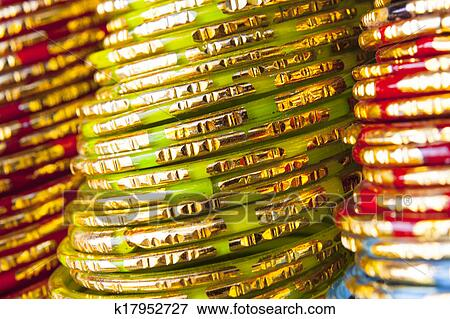 Background of colorful indian bangles Stock Photo