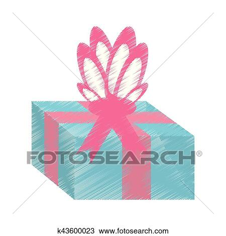 Drawing Gift Box Pink Ribbon Surprise Clipart K43600023 Fotosearch