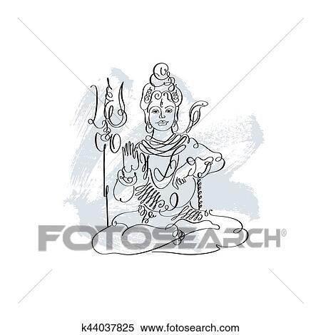 Lord Shiva black and white calligraphic drawing to Maha Shivarat Clipart