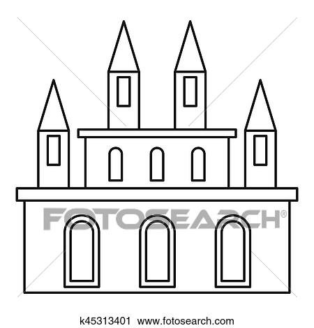 Clipart Of Royal Castle Icon Outline Style K45313401 Search Clip