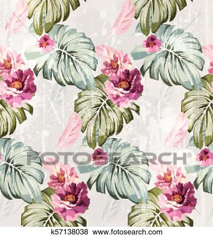 Summer Watercolor Flowers Vector Vintage Roses Backgrounds Clip Art