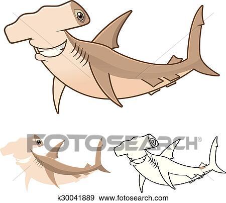 Clip Art - tiburón pez martillo, caricatura k30041889 - Buscar Clip ...