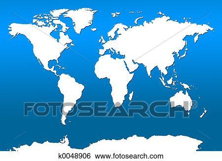 Picture Of A Map Of The World.World Map Standartinė Iliustracija