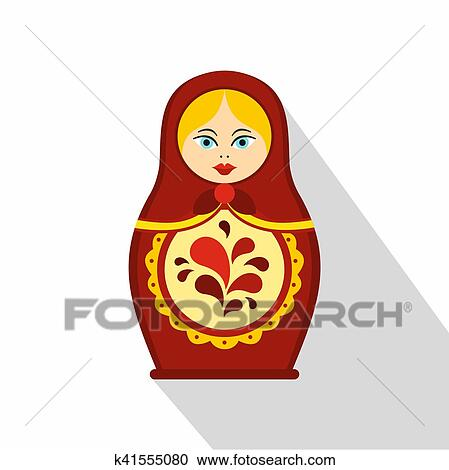 ロシア人 伝統 Matryoshka の人形 アイコン 平ら スタイル クリップ