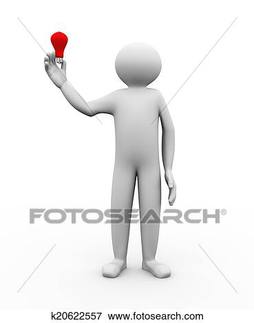 3d Illustration Of Person Holding Electric Light Bulb In His Hand Human Character And White People