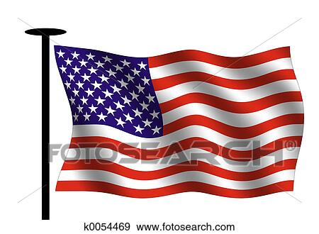 Stock Illustration Of American Flag K0054469 Search Vector Clipart