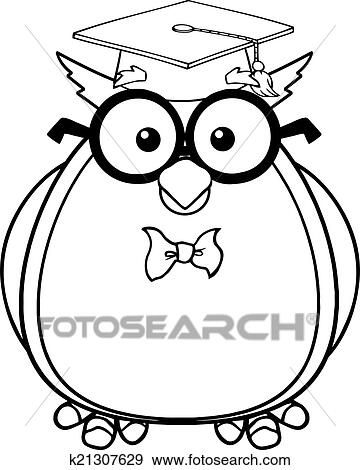 Black And White Wise Owl Teacher Cartoon Character With Glasses Graduate Cap K21307629 Foto Search Stock Photo Photograph Royalty Free