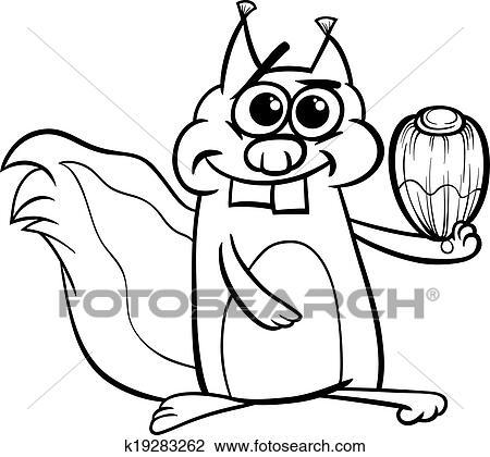 Eichhörnchen Mit Nuß Färbung Seite Clipart