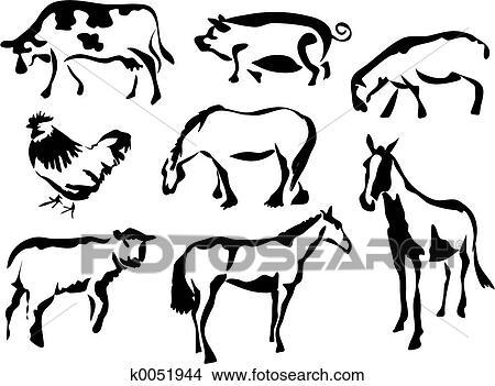Vector Line Art Animals : Drawings of farmyard animals k search clip art