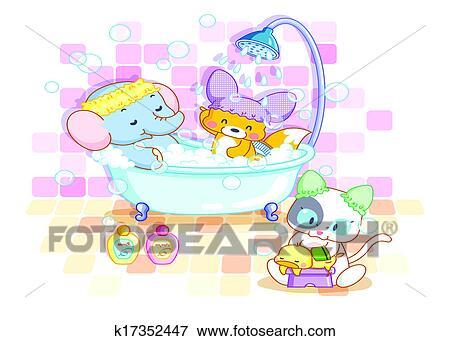 Stock Illustration Lustige Tiere In Dass Badezimmer K17352447