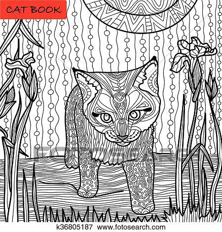 Monochrom Bild Ausmalbilder Für Erwachsene Katz Buch Gekritzel Muster Katzenbaby Unter Iris Clip Art