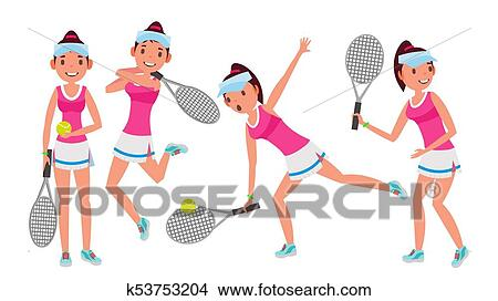 Clipart Of Professional Tennis Player Vector Summer Sport Players