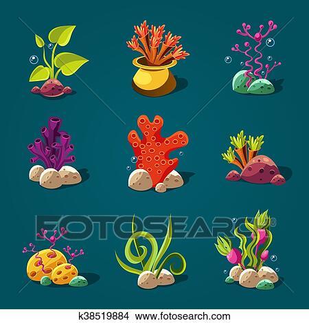Disegni Set Di Cartone Animato Alghe Elementi Per Acquario