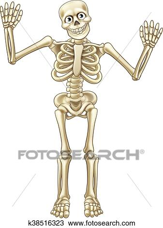 Squelette Dessin Halloween.Squelette Dessin Animé Mains Ondulantes Clipart