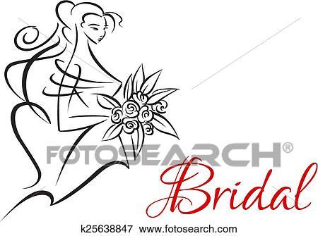 clip art of bridal invitation template with pretty bride k25638847