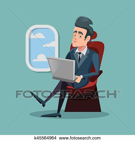 Cartoon Successful Businessman Flying in Airplane and Working with Laptop   Vector illustration Clipart