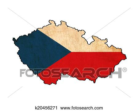 Clipart Of Czech Republic Map On Flag Drawing Grunge And Retro Flag