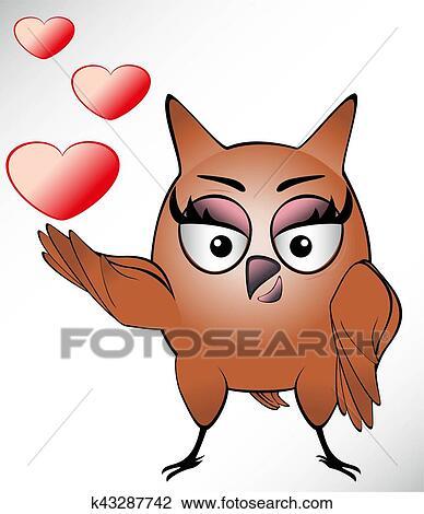 Engracado Coruja Com Orelhas Longas E Olhos Grandes Desenho