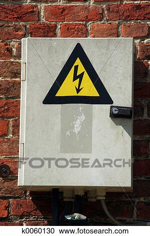 stock photography of fuse box k0060130 search stock photos Electrical Outage Clip Art fuse box with black yellow sign warning for risk of electrocution