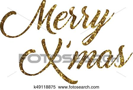 Clipart - Golden glitter of isolated hand writing word Merry Christmas. Fotosearch - Search Clip