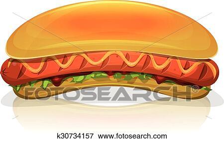 Hot dog hamburger icona clip art k30734157 fotosearch