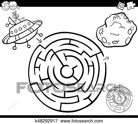 Clip Art Of Maze With Ufo Coloring Page K48292917