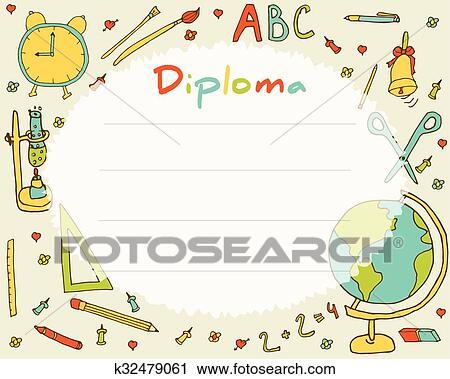 clipart of preschool elementary school kids diploma certificate