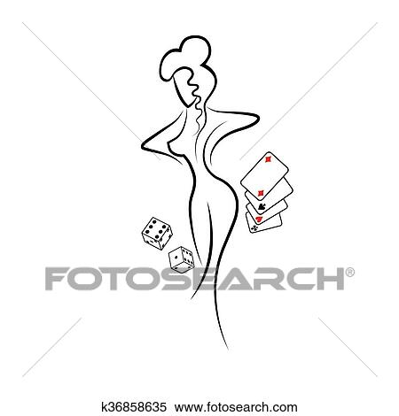 Clipart Of Silhouette Of Woman K36858635