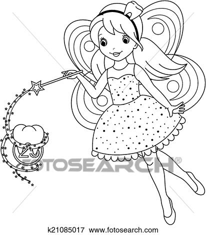 Clip Art of tooth fairy coloring page k21085017 - Search Clipart ...